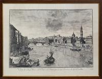 Quadro di  Antiquariato - Veduta di Lung'Arno e del Ponte a S.Trinita presa dal terrazzo de' SS.Rucellai stampa carta