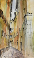 Quadro di Rodolfo Marma  Vicolo delle Bombarde,Firenze