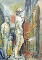 Work of Emanuele Cappello - David di Michelangelo all'entrata di Palazzo Vecchio oil canvas