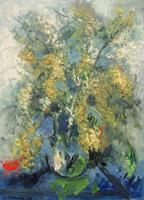 Quadro di Emanuele Cappello - Vaso con Mimosa olio tela