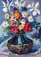 Quadro di  Michele Ortino - Vaso con Fiori acrÍlico tela
