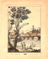 Quadro di   Antiquariato - Scorcio paesaggistico lithographie papier