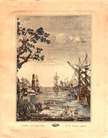 Quadro di   Antiquariato - Navi al porto lithographie papier