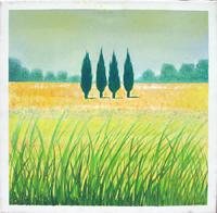 Работы  Italo Di Lorenzo - Paesaggio con cipressi oil холст