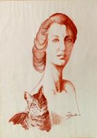 Work of Luigi Pignataro  Donna con gatto