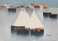 Work of Lido Bettarini  Marina con vele