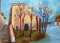 Quadro di Emilio Malenotti - Casolare abbandonato olio tavola