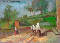 Quadro di  Osman Lorenzo De Scolari - Suore in cortile Óleos tabla