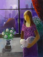 Quadro di Eliano Fantuzzi  Donna e finestra