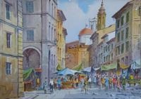 Quadro di Giovanni Ospitali  Mercato fiorentino