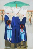 Quadro di Rodolfo Marma  Monachine sotto l'ombrello
