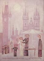 Quadro di Adorno Bonciani - Praga Piazza della città vecchia olio cartone