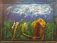 Quadro di  Mario Schifano - Paesaggio Anemico (cornice invasa) aut.su foto di Remo Bianco huile toile