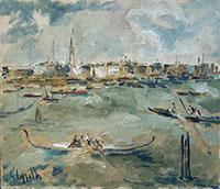 Work of Emanuele Cappello - Gondole a Venezia  oil canvas
