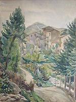 Work of firma Illeggibile - Paesaggio watercolor paper