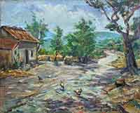 Work of  Lucchesi - Nell'aia oil canvas