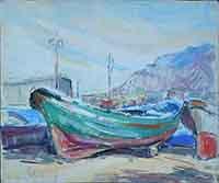 Work of firma Illeggibile - Barca watercolor cardboard