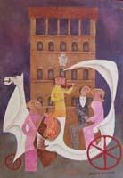 Работы  Adorno Bonciani - Palazzo Davanzati oil картон