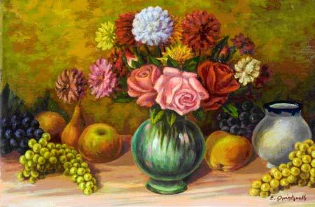 Quadro di ettore quintavalla frutta e vaso di fiori for Vasi di fiori dipinti