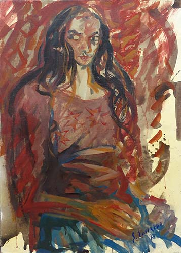 Art work by Silvio Loffredo Figura  - oil canvas cardboard