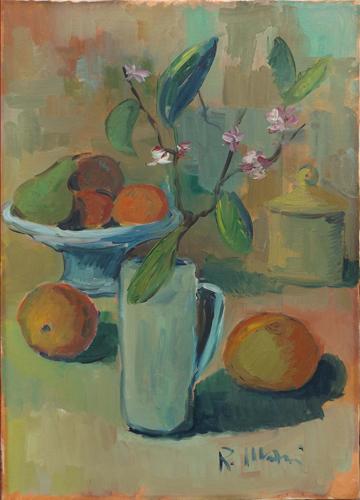 Quadro di Roberto Masi Composizione con fiori e frutta  - olio tela