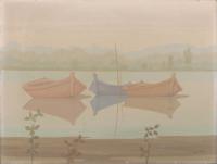 Quadro di Roberto Masi  Barche sull'Arno
