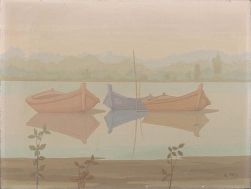 Art work by Roberto Masi Barche sull'Arno - oil hardboard
