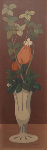 Art work by Roberto Masi Vaso con rose - oil hardboard