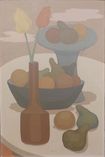 Art work by Roberto Masi Composizione di fiori e frutta  - oil hardboard