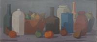 Composizione con frutta e oggetti