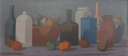 Quadro di Roberto Masi Composizione con frutta e oggetti - olio faesite