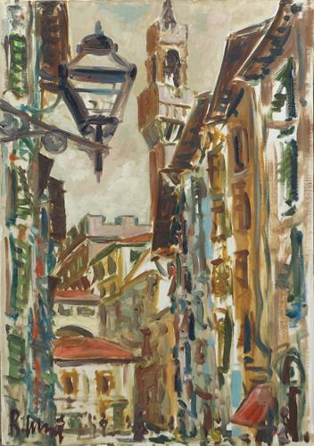 Quadro di Roberto Masi Strada di Firenze - olio tela
