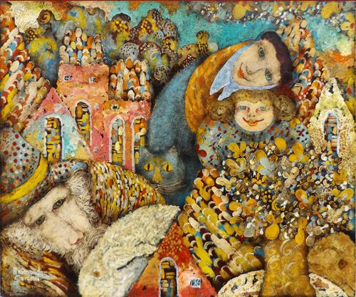 Quadro di Raimondo Cardelli - Paesaggio fiabesco olio tela