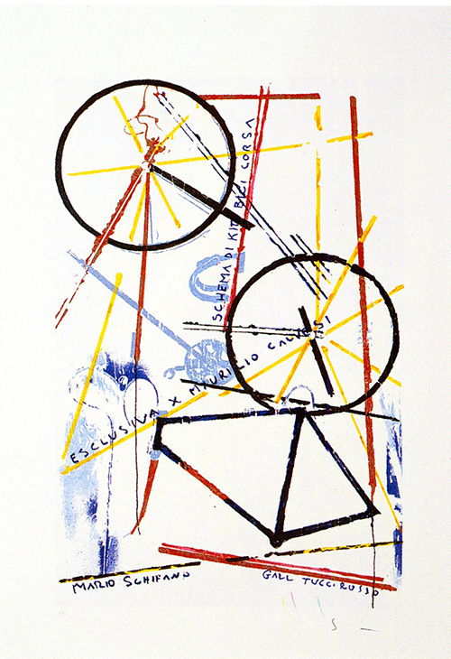Art work by Mario Schifano Schema di kit bici da corsa  - lithography paper