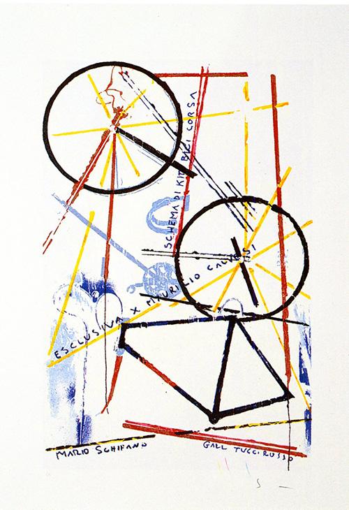 Quadro di Mario Schifano Schema di kit bici da corsa  - litografia carta