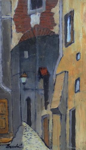 Quadro di  Locchi Strada di sera  - olio tavola