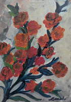 Quadro di  Locchi - Rose olio cartone