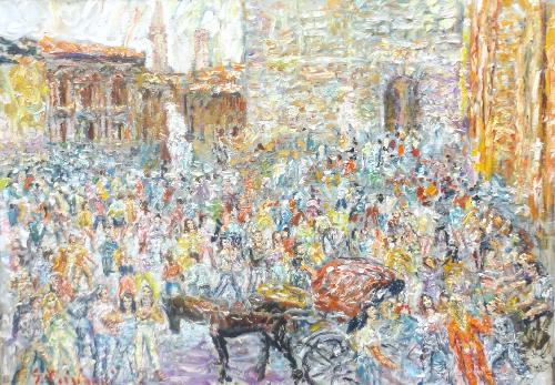 Quadro di Guido Borgianni Piazza della Signoria - Firenze - olio tela