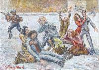 Quadro di Guido Borgianni - La rapina  olio tela