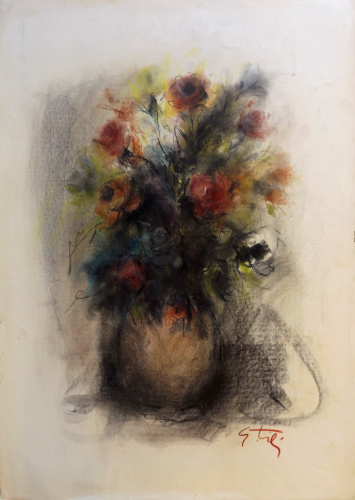 Art work by Gino Tili Vaso di rose  - pastel paper