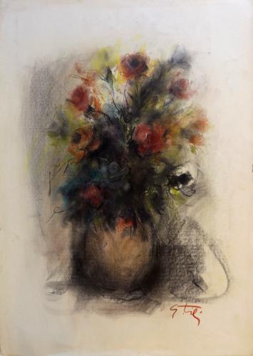 Quadro di Gino Tili Vaso di rose  - pastello carta