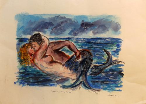 Art work by Mauro Capitani Tritone e Nereide  - mixed paper