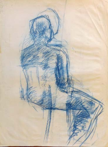 Art work by  Anonimo Figura in blu - pastel paper
