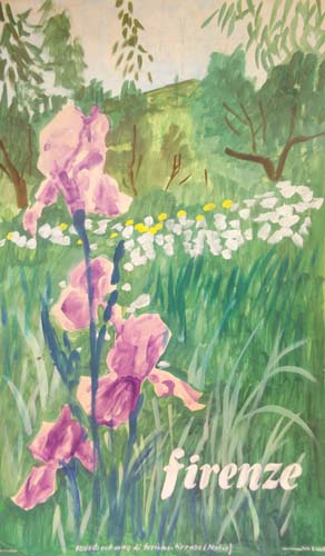 Quadro di  Scuola Toscana  Mostra dei fiori  - tempera cartone