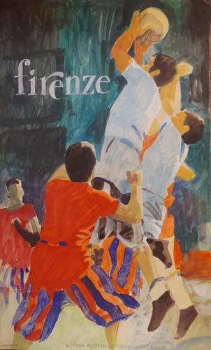 Quadro di  Scuola Toscana  Calcio storico - Firenze - tempera cartone