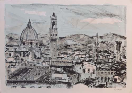 Art work by Renzo Grazzini Cattedrale di Firenze - lithography paper