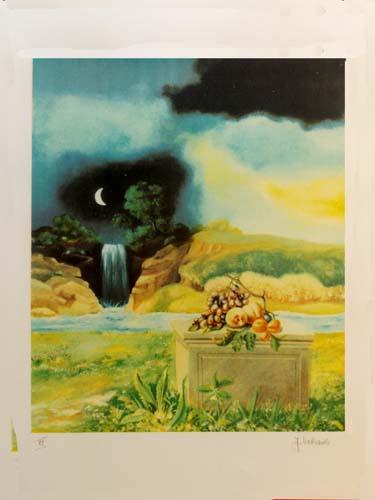 Quadro di Franco Lastraioli Paesaggio - litografia carta
