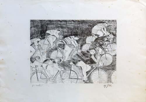 Quadro di firma Illeggibile Gara ciclistica  - litografia carta