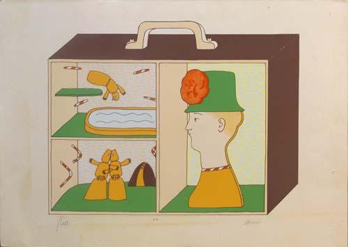 Quadro di Antonio Bueno La valigia dei sogni - litografia carta