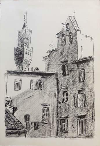 Quadro di Maria Grazia Bianchi Martelli Scorcio della Signoria - Firenze - litografia carta